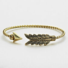 Feather Bracelet Open Bangle BURNISHED GOLD Arrow Leaf Feathers Wings Jewelry