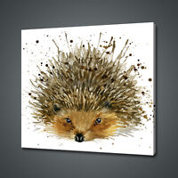 HEDGEHOG WATERCOLOUR PAINTING STYLE CANVAS PRINT WALL ART PICTURE PHOTO