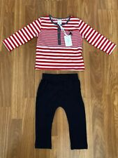 BNWTS. DEBENHAMS JASPER CONRAN JNR. AGE 9/12 MONTHS. RED STRIPED TOP & JOGGERS
