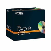 TDK DVD-R 120 Mins 4.7GB 16x Speed Recordable Blank Discs - 5 Pack Jewel Cases