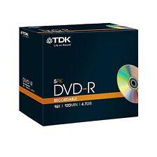 TDK DVD-R Grabable 120 minutos Velocidad 4.7GB 16X Disco en Blanco - 5 Pack Jewel estuches