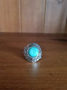 Tibetan Silver Plated Turquoise Stone Adjustable Ring Bohemian Antique Jewellery