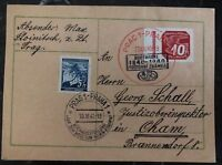 1940 Prague Bohemia Moravia Germany Postcard Cover FDC Centenary To Cham