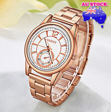 Wholesale Men's Rose Gold  Minute Stainless Steel White Dial Quartz Watch