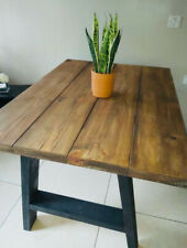 Reclaimed Dining Table Solid Wood Black Timber A Frame Legs Farmhouse Industrial