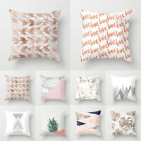 Nordic Geometric Rose Gold Pillow Case Soft Sofa Cushion Cover Car Home Decor