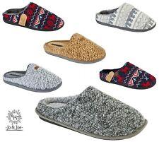 Mens Slippers Mule Slip On Wool Fleece Lining Size Comfort Grey Tartan Soft Sole