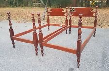 Antique Pair Four Post Mahogany Cannonball Twin Bed Frame Headboard, Foot Board