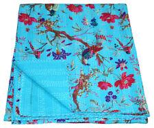 King Kantha Quilt Throw Blanket Cotton Ralli Quilt Handmade Vintage Bedspreads