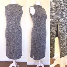 M&S Jumper Dress 12 Grey SIDE SPLITS Knit Stretch Midi Sleeveless Bodycon Smart