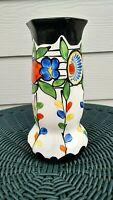 "1920's ART DECO 8"" Folk Art Pottery Vase Hand Painted, Czechoslovakia, Lovely!"