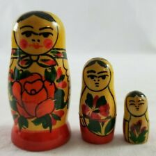 Russian Hand Painted Wood Nesting Doll Set of 3 Red Floral Design