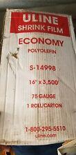 "Uline Economy Polyolefin Shrink Film Roll - 75 gauge, 16"" x 3,500'"