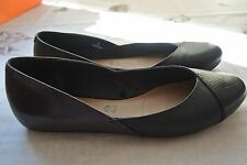 MARKS & SPENCER FOOTGLOVE SHOES BLACK LEATHER FLAT BALLET 6 39 CABIN CREW