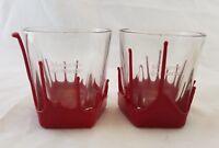 Set of 2 Maker's Mark Bourbon Whiskey Cocktail Lowball Rocks Glasses Wax Dipped
