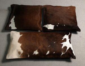 COWHIDE LEATHER CUSHION COVER RUG COWHIDE HAIRON (3 cushion set) SA-154