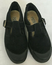 vintage black canvas shoes with buckle closure black tread soles east side