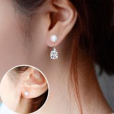 Women Elegant Jewelry 1 Pair Pearl Zircon Silver Plated Ear Stud Earrings Gift