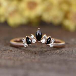 2.20 CT Moissanite And Black Diamond Concave Band Ring 14k Rose Gold Finish