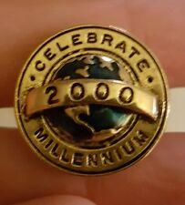 """Celebrate Millennium"" 2000 Nice Gold Tone & Blue Men's Tie Tack Lapel Pin ~"
