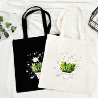 Trendy Casual Plant Pot Canvas Shoulder Bag Girls Shopping Bags School Handbag