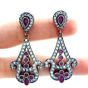 Jewelry Turkish Handmade Victorian 925 Sterling Silver Ladies Earrings 2163