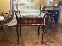 Antique Mahogany Piano Sewing Bench Stool Chair Lift Top Seat Storage Wood Inlay