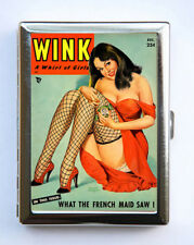 Cigarette Case Wink Pin up French Maid pinup Wallet Card Holder