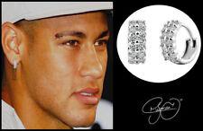 Men's: Neymar Twin Row Multi-Diamond-Set 18 Carat White Gold Huggie Earrings