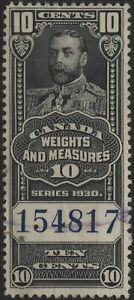 Canada VanDam FWM61 10c black Wt. & Meas blue control numbers, Issue of 1930