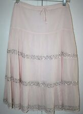 LIGHT PINK SKIRT WITH SILVER BEADS AND SEQUINCE  - Size Large