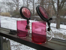 "Pair Of Antique Cranberry Glass 4""Beer Steins Pewter & Glass Lids Applied Handle"
