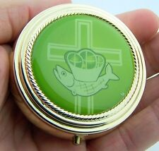 """Cross & Loaves & Fish Hospital Pyx Communion Gift For Hosts Gold Gild 2 1/4"""""""