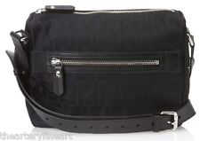 FENDI Men's Small 'FF' Logo Messenger Bag Black Zucca Jacquard Nylon Leather NEW