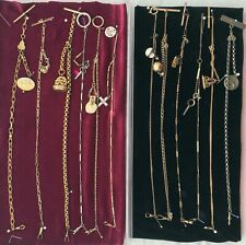 Pocket Watch Chains Fobs - Some Gold Fill, One Sterling; Vintage Lot 12 Count