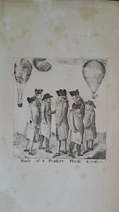 1785 SATIRICAL PRINT JOHN KAY - GROUP OF AERONAUTS BALOONISTS-BIRDS OF A FEATHER