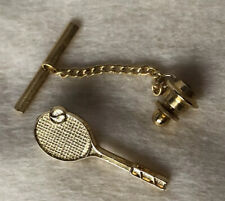 Gold Tone Metal Tennis Racquet Tie Pin/Tack with Chain