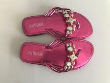 BNWOT Little Girls Sz 9 Hot Pink Bead Metallic Little Treasure Strappy Sandals