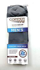 Copper Fit Mens Work Gear Cooling Crew Socks L/XL 2 Pr Grey Odor Reducing
