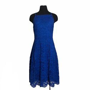 Ivanka Trump Blue Lace Sleeveless Party Knee Length Dress Size 10 Women