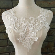 Large 3D Lace Floral Wedding Motif Embroidery Applique Sew Cute Dress Trim White