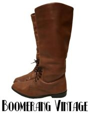 Vtg Boho Prairie Woman's Riding Boots Tall Flat Lace Up Chestnut Leather 8.5