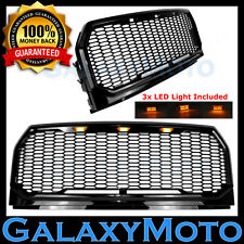 15-17 Ford F150 Raptor Conversion Black Replacement Mesh Grille+Shell+LED Light