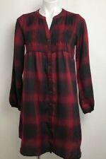Knox Rose Shirt Dress Red Plaid Smocked Knee Length Long Sleeve Womens Sz S New