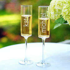 Personalized Glass Toasting Flutes Wedding Anniversary Any Celebration Set of 2