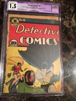 "Detective Comics #46 CGC 1.5 RESTORED ""DEATH"" of HUGO STRANGE! - BOB KANE COVER!"