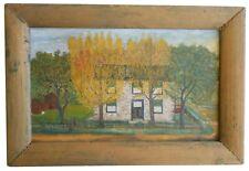 AAFA Late 1800s Folk Art Antique Naive Primitive Landscape Country Painting