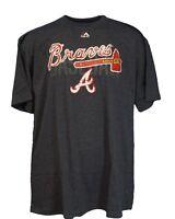 Atlanta Braves MLB Majestic Weathered Logo Navy Heather TShirt, Men's Big & Tall