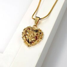 "Women Charms flower Pendant 18K Yellow Gold Filled Necklace 18""Chain"