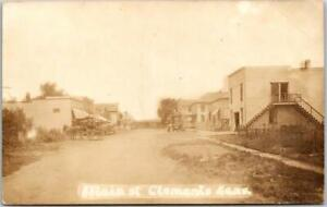 CLEMENTS, Kansas RPPC Real Photo Postcard MAIN STREET Downtown Scene 1916 Cancel